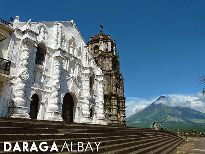 Daraga Church with active volcano, Mount Mayon, in the background